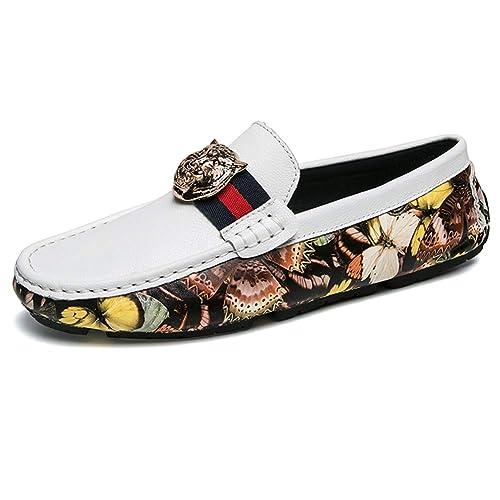 NXY de los Hombres Casual Mocasines Cuero Moda Personalidad Camuflaje Plano Ponerse Conducción Mocasines Zapatos del Barco: Amazon.es: Zapatos y ...