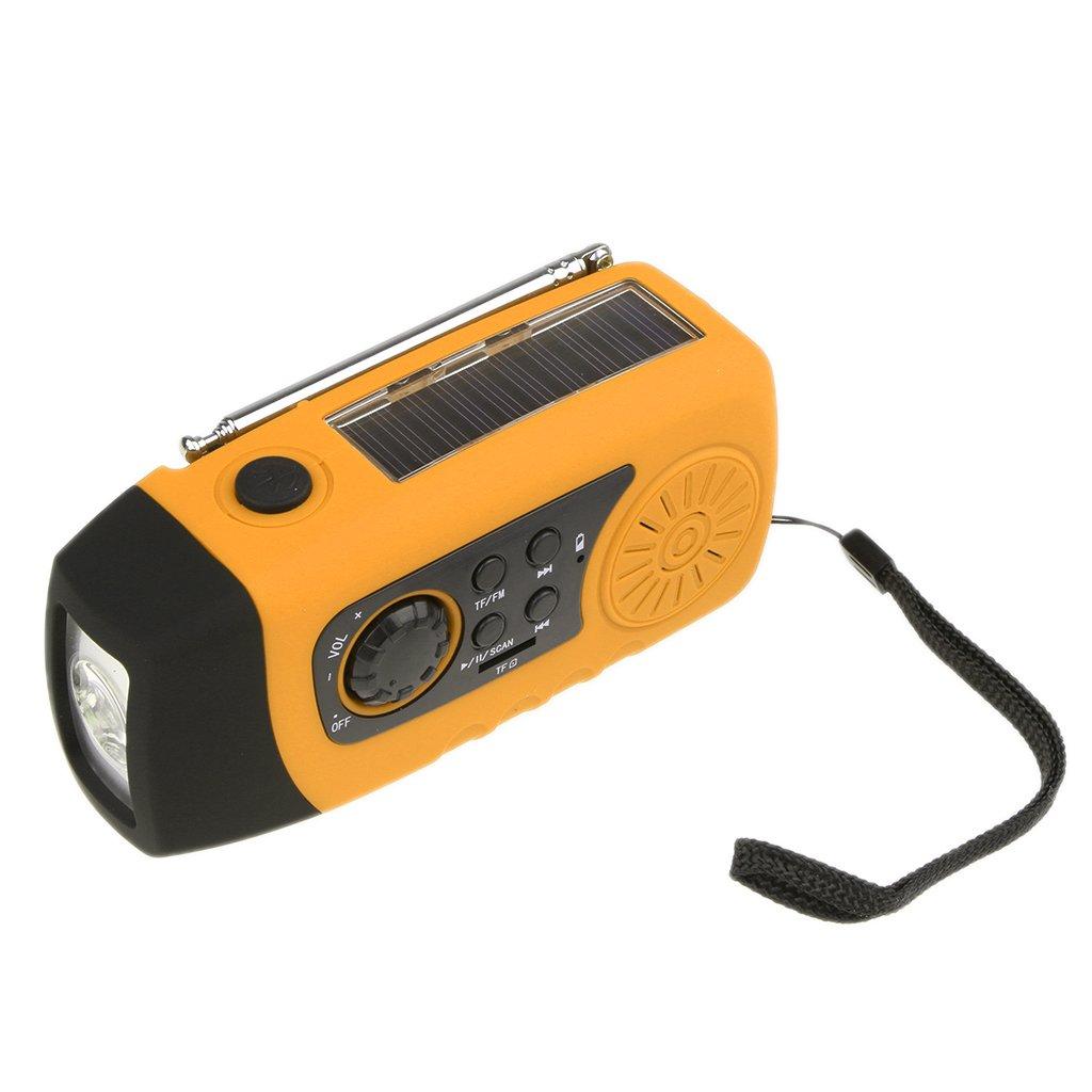 Jili Online Solar Hand Crank AM/FM/NOAA Weather Radio with Flashlight 2000mAh Power Bank Orange