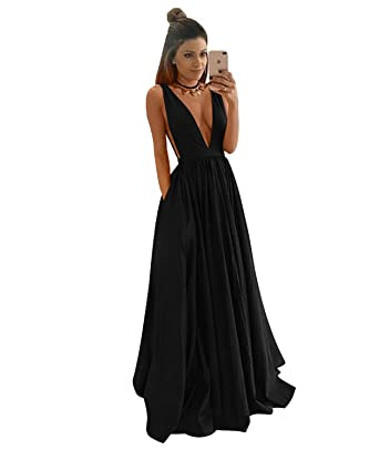 QueenBridal Navy Blue 2017 Deep V-Neck Tank Satin Evening Prom Dresses Long