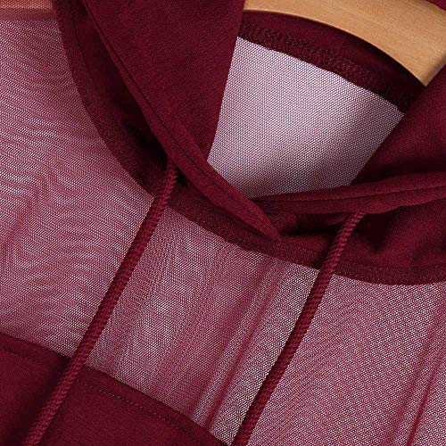 Cappuccio Corta Lunghe BYSTE coulisse Felpa Tinta Camicetta Elegante Inverno con traslucido Ragazza Rosso Felpa Autunno e Vino Donna Maniche Pullover unita XqFEwq