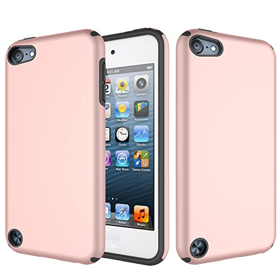 los angeles fc927 64b21 iPod Touch Case (Rose Gold) [INCLUDES SCREEN PROTECTOR] iPod Touch 6th 5th  Case,Heavy Duty High Impact Armor Case Cover Protective Case for Apple iPod  ...