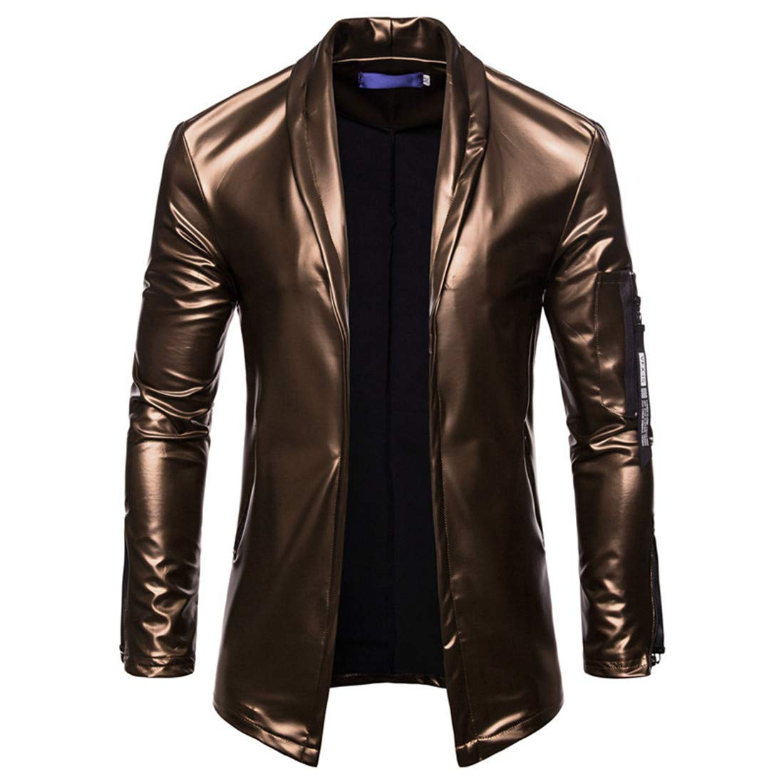 Domple Men's Moto Biker Full-Zip Faux Leather Coats Stretch Sport Coat Blazer Jacket Golden US 2XL
