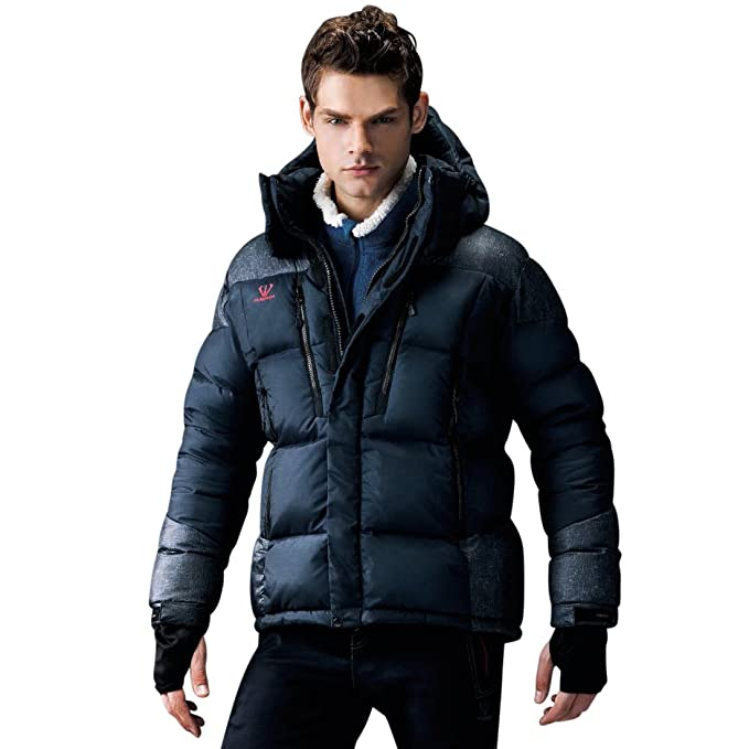 3d4f15982 Fuerza Mens Winter Premium White Duck Down Hooded Parka Jacket