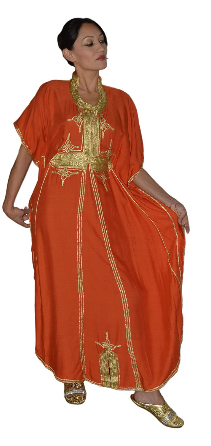 Moroccan Caftan Hand Made Breathable Cotton with Gold Hand Embroidery Long Orange by Moroccan Caftans (Image #7)