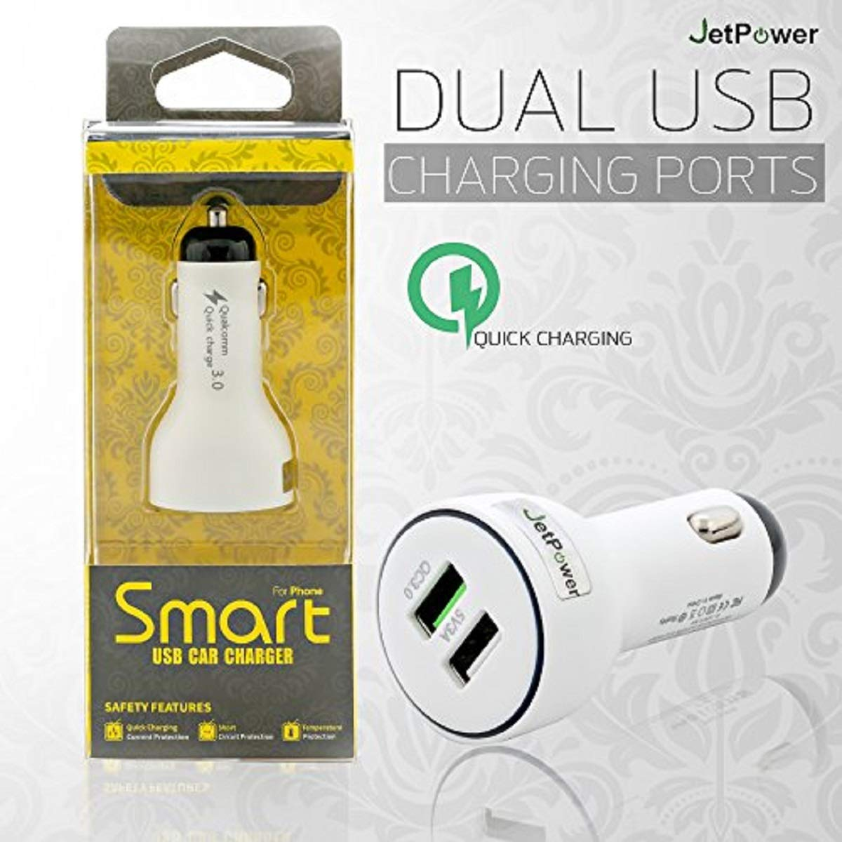 White USB Dual Car Adapter Aluminum Alloy Charger with 10W//3.0A Output for iPhone Xs//Max//XR Samsung Galaxy Note9 and More Quick Charge 3.0 Flush Fit iPad Pro//Mini