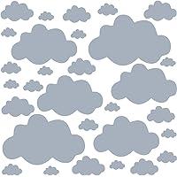 PREMYO 30 Wolken Muurstickers Kinderkamer Meisje Jongen - Muurtattoo Stickers Babykamer Zelfklevend Lichtgrijs