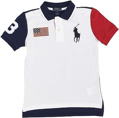 Ralph Lauren Boys Polo Shirt Amerian Flag Red White Blue Size XL (18-20