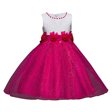 WYXlink Flower Girl Princess Bridesmaid Pageant Lace Shiny Tutu Tulle Gown Party Wedding Dress 4-