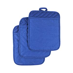 Anyi Oven Pot Holders with Pocket, 100% Cotton Oven Mitts Oven Pads with Feature of Heat Resistant Potholders Non Slip for Cooking Baking, Set of 3 (Blue)