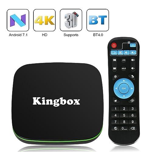 Kingbox K1 Andriod 7.1 TV Box Bluetooth 4.0/3D/4K Full HD/2.4Ghz Wifi/H.265 Smart TV Box