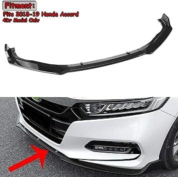 Glossy Black Front Bumper Lip Protector Cover Trim 3pcs for Honda Accord 2018-19