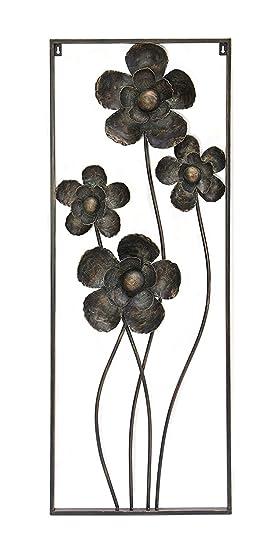 Déco Murale Métal Laqué Noir Avec Patine En Bronze Et Tons De Vert