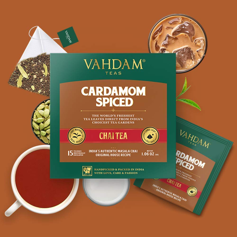 India's Original Cardamom Tea Blend, Packed at Source, (2 Boxes, 15 Tea Bags Each)