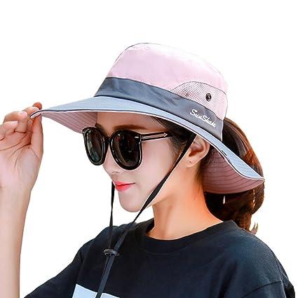 Lujuny Women Ponytail Derby Sun Hat - UV UPF Protection Cap for Hiking  Safari Gardening Fishing 63eedb43655b