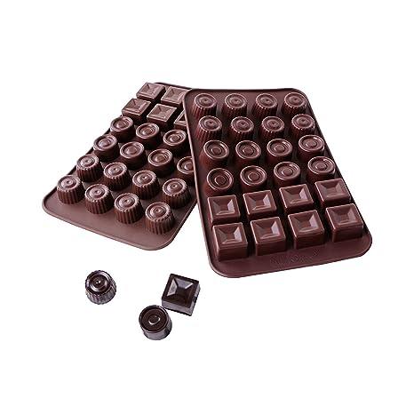 webake 2 Stück x 24er Form Silikon Pralinenformen Schokoladenformen Eiswürfelformen