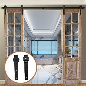 11.5FT Herraje para Puerta Corredera Kit para Puertas Dobles,Negro J-Forma: Amazon.es: Bricolaje y herramientas