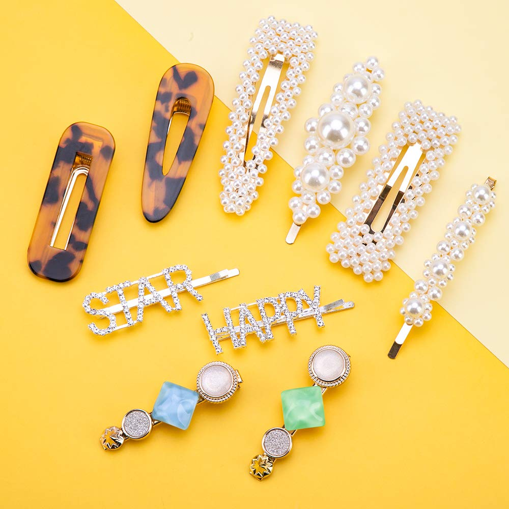 10pcs Pearl Hair Clips - Fashion Korean Style Pearls Hair Barrettes Sweet Artificial Acrylic Resin Barrettes Hairpins for Women, Exquisite Ladies and Girls Headwear Styling Tools Hair Accessories
