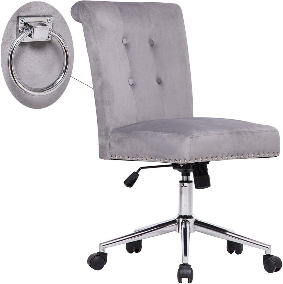 Cute Grey Tufted Velvet Computer Desk Chair Swivel Adjustable Nailhead Trim Home Office Chair Executive Chair w/Soft Seat and Pull Ring Easy to Move