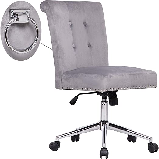 Amazon Com Cute Grey Tufted Velvet Computer Desk Chair Swivel Adjustable Nailhead Trim Home Office Chair Executive Chair W Soft Seat And Pull Ring Easy To Move Kitchen Dining