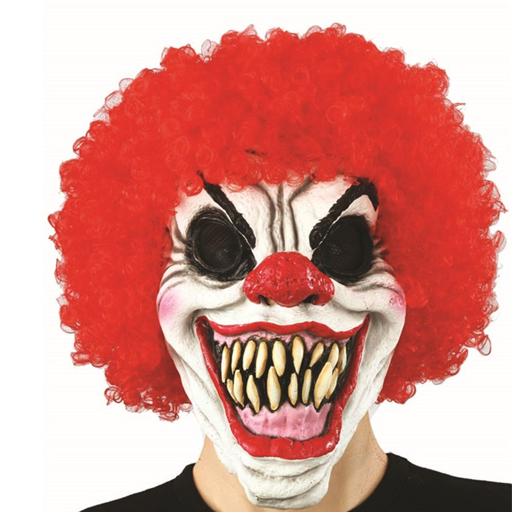 XIAO MO GU Latex Halloween Party Cosplay Face Mask Adult Scary Clown Costumes Mask with Hairs