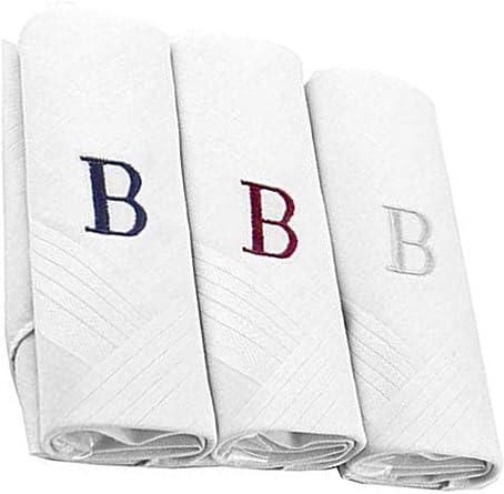 Pañuelos con letras iniciales para hombre, 100% algodón, con monograma - Blanco - Regular: Amazon.es: Ropa y accesorios