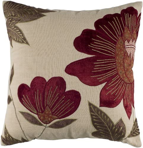 Rizzy Home T04013 Decorative Pillow, 18 X18 , Red Neutral Green