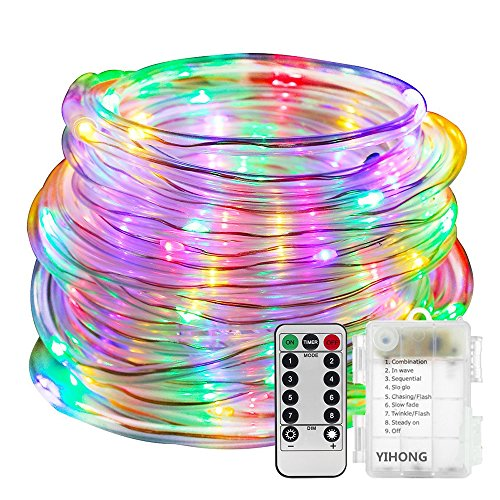 LED Rope Lights Battery Operated Waterproof 33ft String Lights with Remote Timer YIHONG Firefly lights 8 Mode Dimmable Fairy Lights For Outdoor Indoor Home Decoration (Battery Operated Strobe Light)