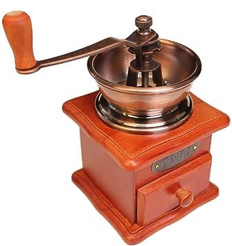 Kaffemühle NEU Retro Kaffeemühle Espressomühle aus Holz mit Kegel-Mahlwerk