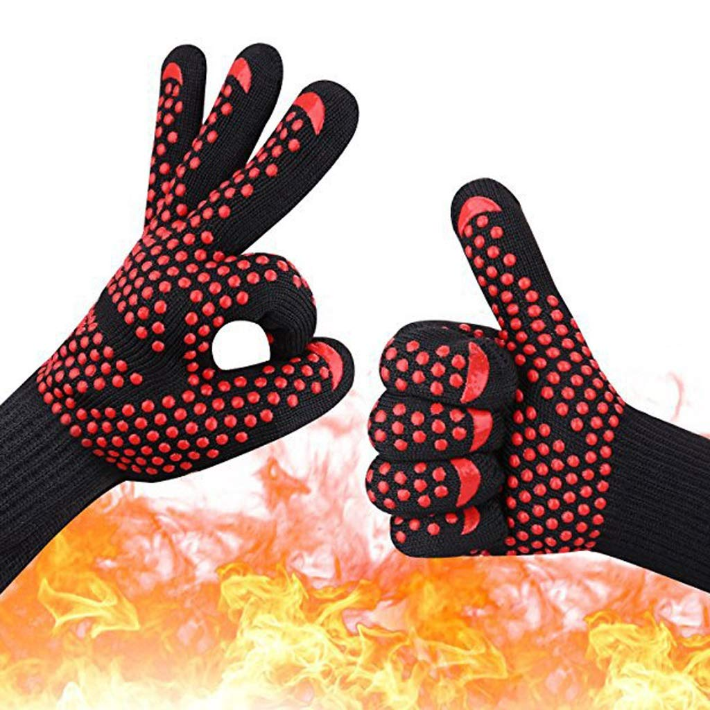 LIN-rlp BBQ Gloves Heat Resistant, Oven Gloves with Fingers, Heave Duty Silicone Oven Gloves for Barbecue, Cooking, Baking, Grilling, BBQ(1 Pair) by LIN-rlp