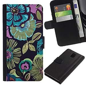 SAMSUNG Galaxy Note 3 III / N9000 / N9005 Modelo colorido cuero carpeta tirón caso cubierta piel Holster Funda protección - Pink Floral Vintage Pattern Wallpaper