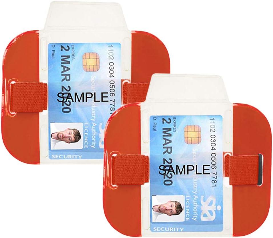 siwetg Supporto per Carta didentificazione con Braccialetto di identificazione con Fascia Elastica per Bracciale e Porta Carte di Credito Blu