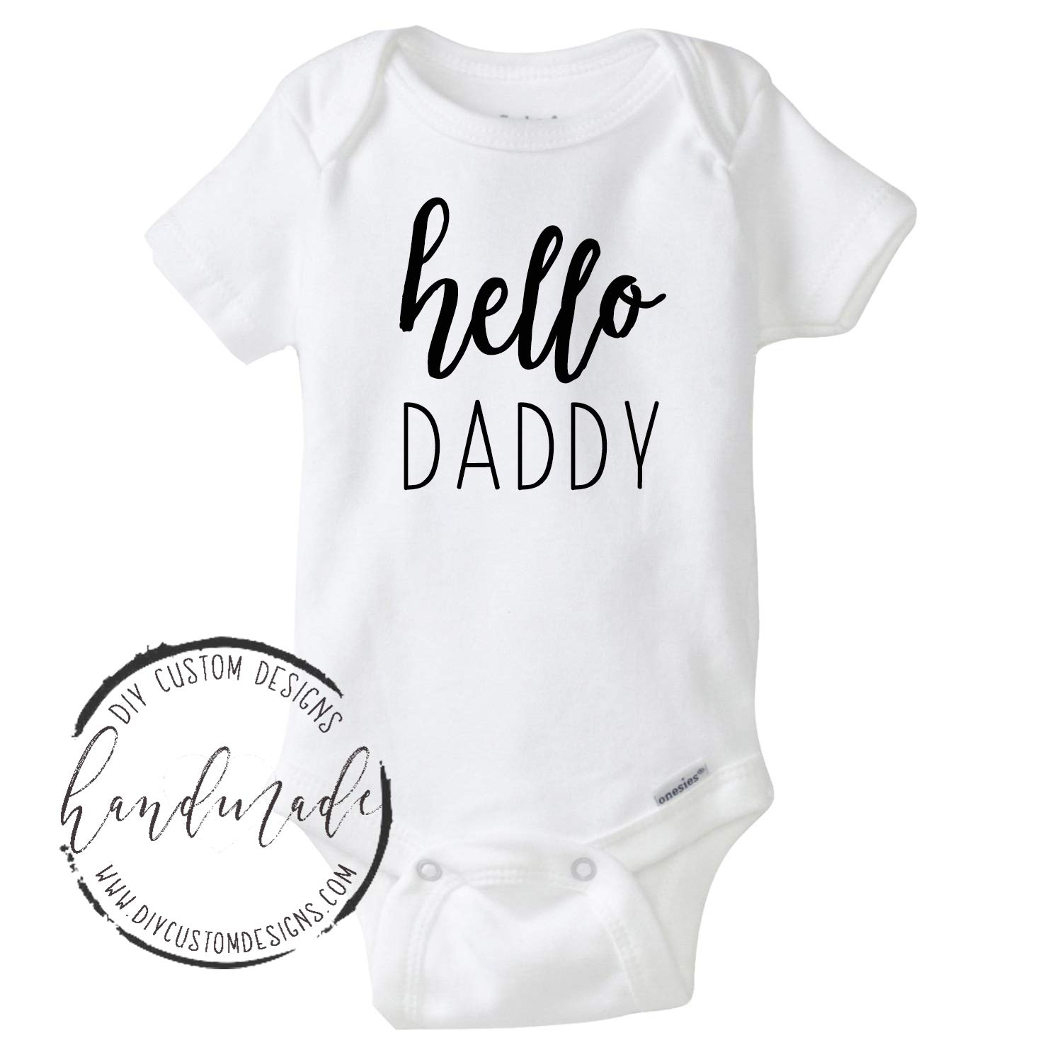 c0403fc1b Amazon.com: Hello Daddy Baby Onesie®, Baby Announcement Onesie, Pregnancy  Announcement, Pregnancy Reveal to Husband, Going to be a Dad: Handmade