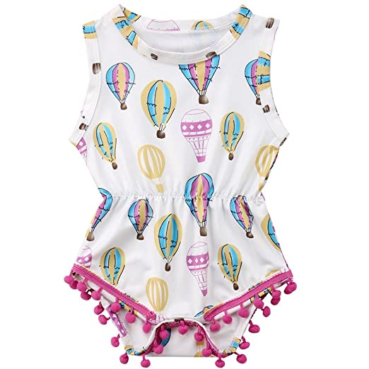 dd78ea1bca22 Infant Toddler Baby Girls Summer Hot Air Balloon Romper Tassel Jumpsuit  Outfits (White