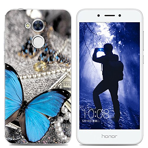 Aksuo Huawei Honor 6A love Case Women girls boy men Printed Clear Design Transparent Plastic Case with TPU Bumper Protective Cover,Blue butterfly