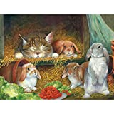Bits and Pieces - Bunnies - 300 Piece Jigsaw Puzzle by artist Lynne Jones