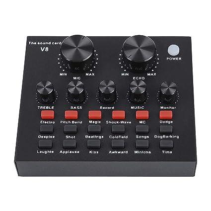 GCDN V8 Tarjeta de Sonido Externa, Mezclador de Audio ...