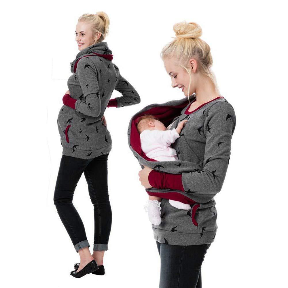 NINGSANJIN Damen Maternity Hoodie Sweatershirt Stillende Krankenpflege Pullover Tops 481
