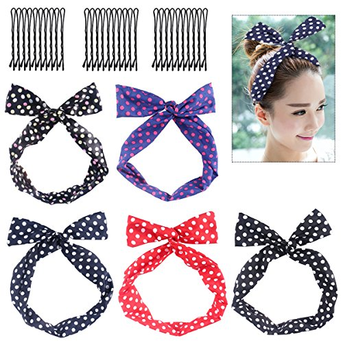Frcolor Wire Headband, 5pcs Retro Polka Dot Twist Bow Head Wrap Set with 30pcs Hairpins for Women and -