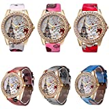 CdyBox Women Lady Eiffel Tower Pattern Leather Band Assorted Rhinestone Dress Watches (6 Pack)
