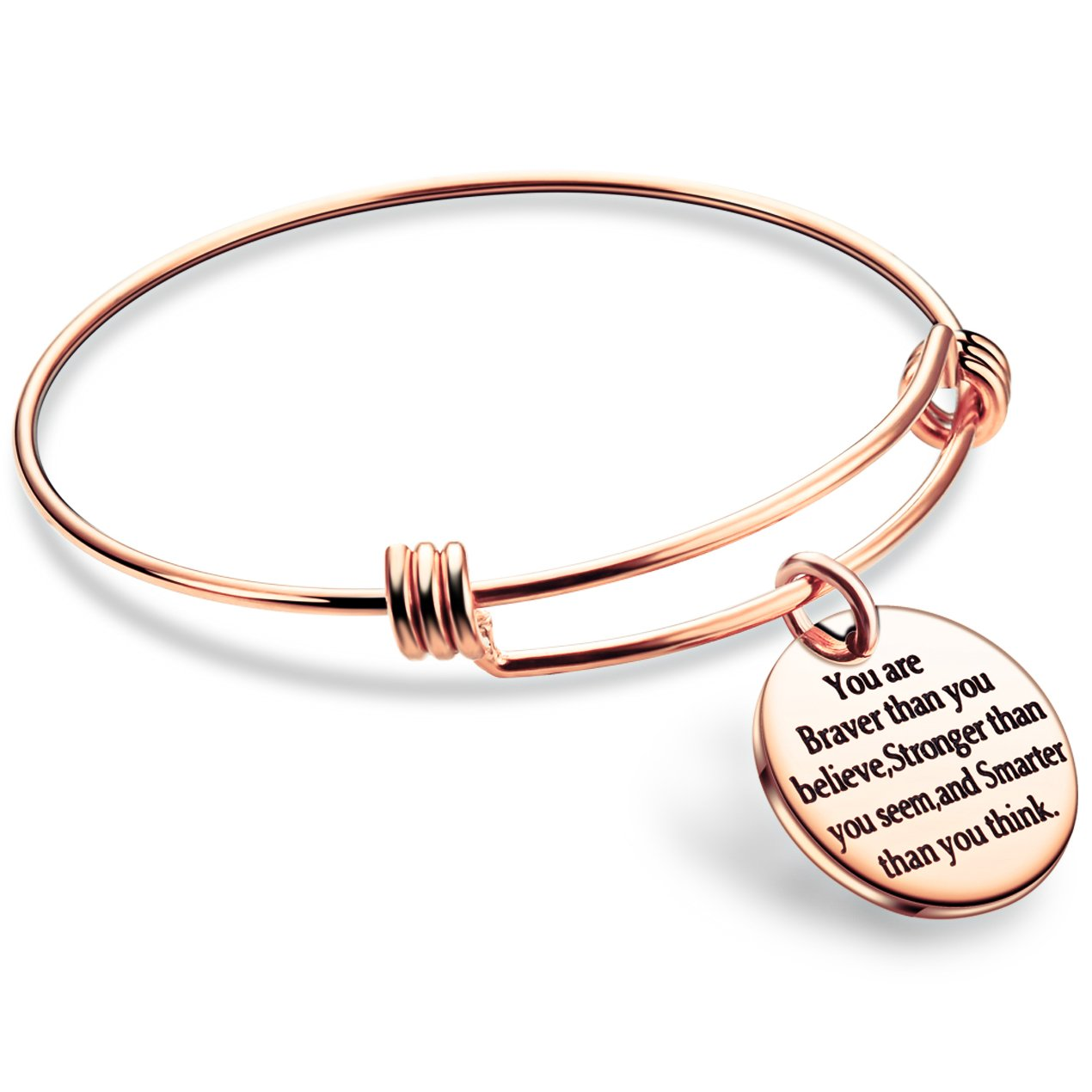 lauhonmin You are Braver Stronger Smarter than you think Inspirational Bracelet Expandable Bangle Gift for Women Men (Rose Gold Color Stainless Steel)