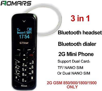 GTStar BM50 plus petit téléphone Bluetooth 3 en 1 mini téléphone Bluetooth dialer Bluetooth écouteur soutien seulement Standard carte SIM changeur de