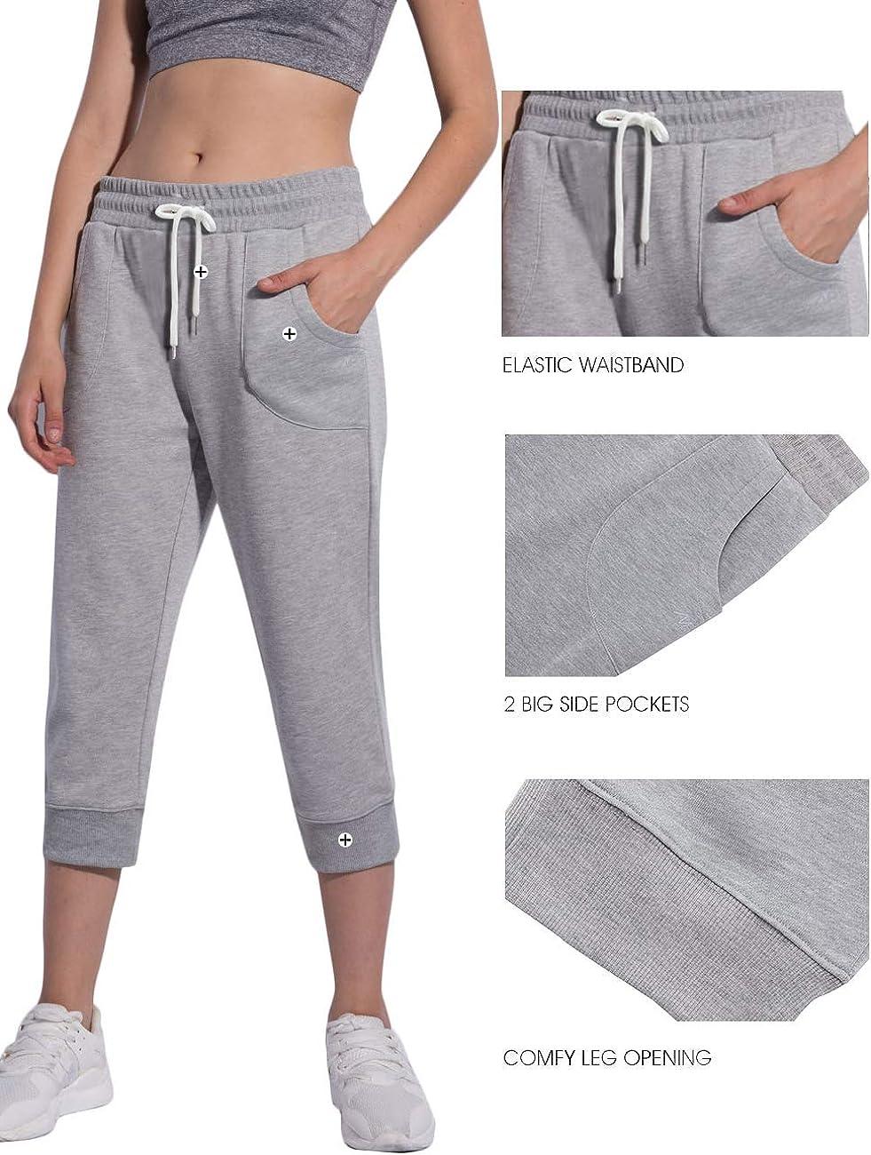 Womens Capri Sweatpants Jogger Lounge Sweat Pants Cotton Drawstring with Pockets
