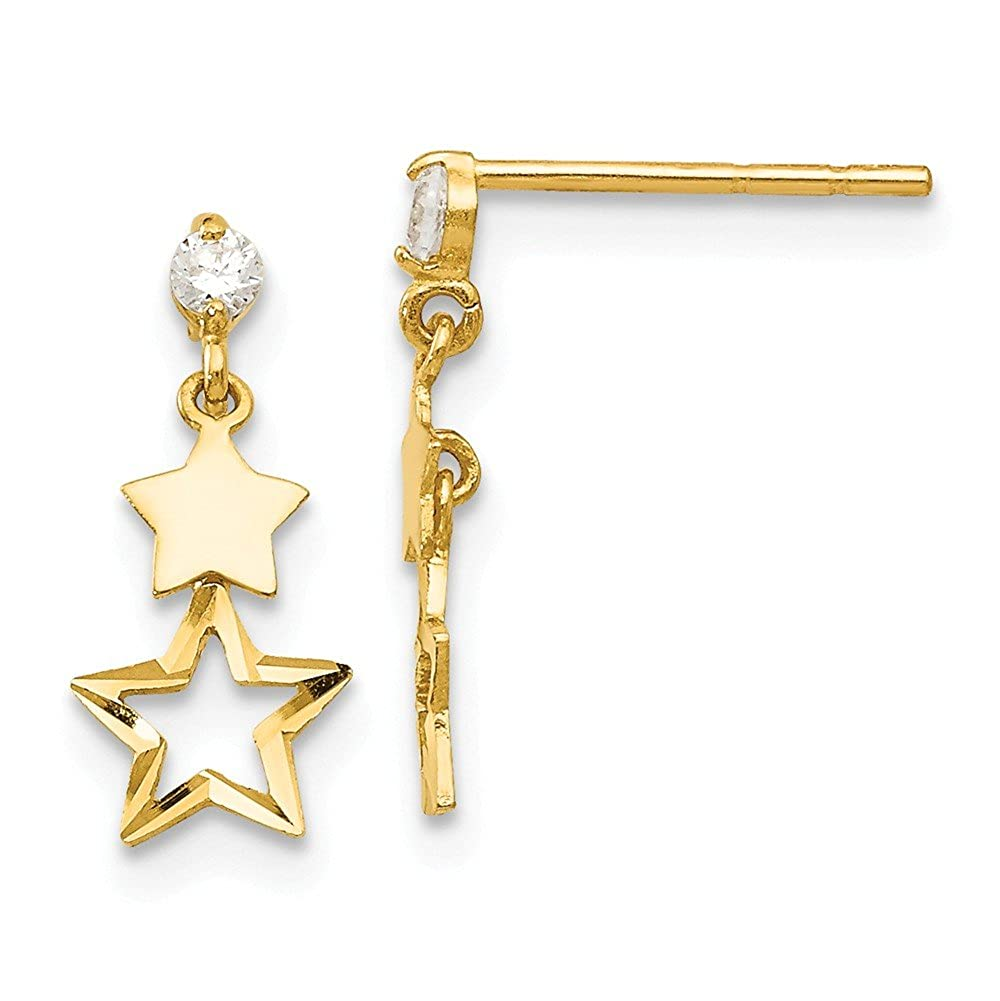 14k Yellow Gold 0.5IN Long Childrens Polished Star Post Dangle Synthetic CZ Earrings.