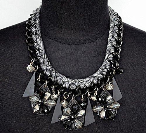 CC554 - Collier Plastron Chaîne Tressée Fil Pendentifs Fleurs Perles Noir/Gris - Mode Fantaisie