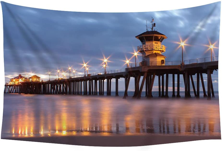 PUPBEAMO PRINTS Huntington Beach Pier - Wall Tapestry Art For Home Decor Wall Hanging Tapestry 60x40 Inches