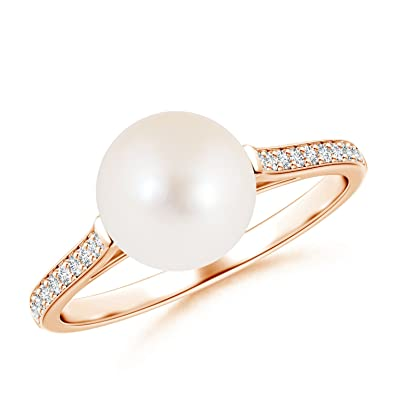 Angara Freshwater Cultured Pearl Solitaire Bypass Ring p83rLwLYM