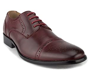 Men's 95733 Leather Lined Cap Toe Lace Up Dress Oxford Shoes, Burgundy, 10