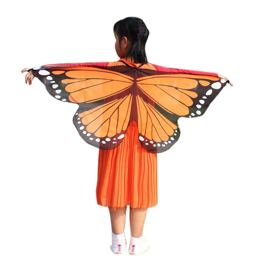 NUWFOR Christmas Womens, Soft Fabric Butterfly Wings Shawl Fairy Ladies Nymph Pixie Costume Accessory?C-Orange?One Size?