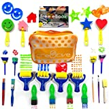 Cre8tivePick kids art & craft 21 pieces of fun painting drawing tools for kids. E-book guide step by step on how to use. Early learning kids painting set, sponge brush, flower pattern brush, Brush set