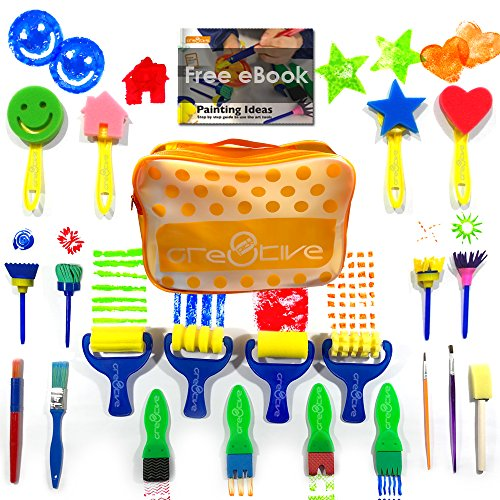 Cre8tivePick kids art & craft 21 pieces of fun painting drawing tools for kids. E-book guide step by step on how to use. Early learning kids painting set, sponge brush, flower pattern brush, Brush set by Cre8tivePick